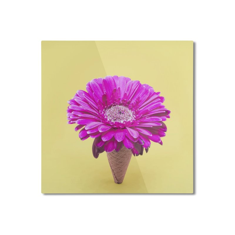 Flower Ice Cream Cone Home Mounted Aluminum Print by BrocoliArtprint