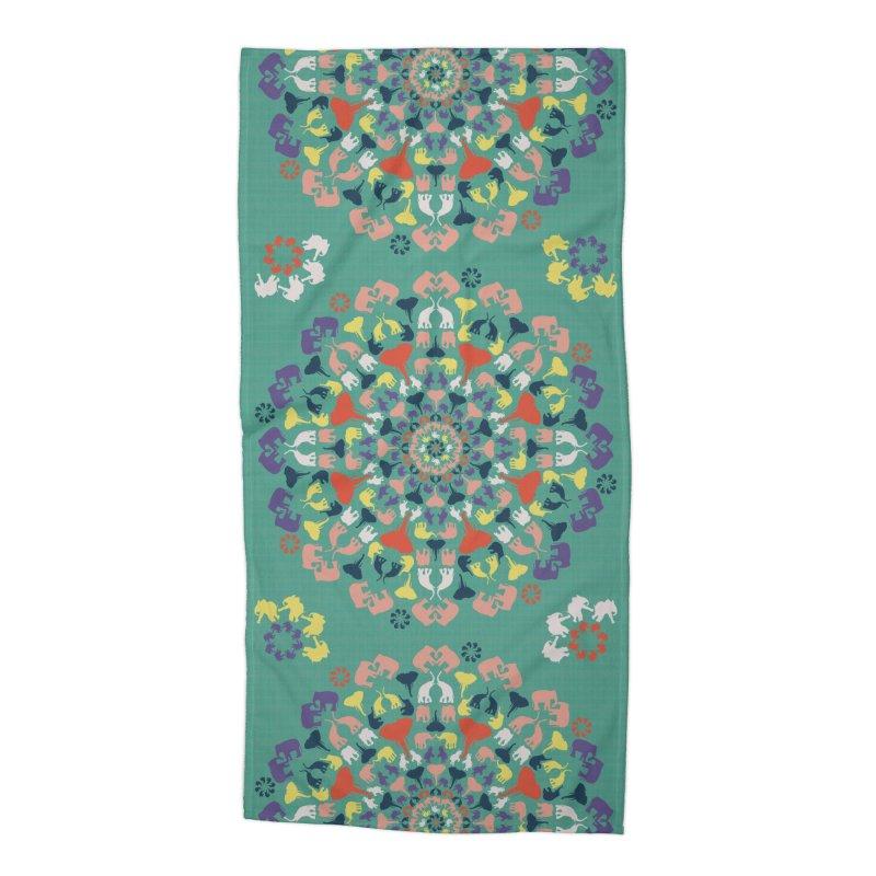Mandala of Elephants 02. Accessories Beach Towel by BrocoliArtprint