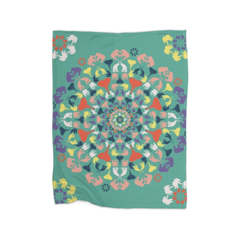 Mandala of Elephants 02. Home Blanket by BrocoliArtprint