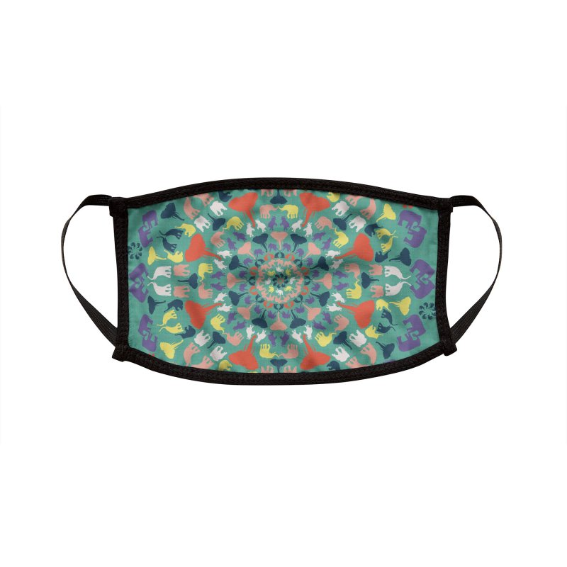 Mandala of Elephants 02. Accessories Face Mask by BrocoliArtprint