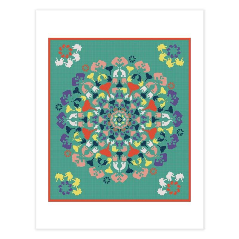 Mandala of Elephants 02. Home Fine Art Print by BrocoliArtprint