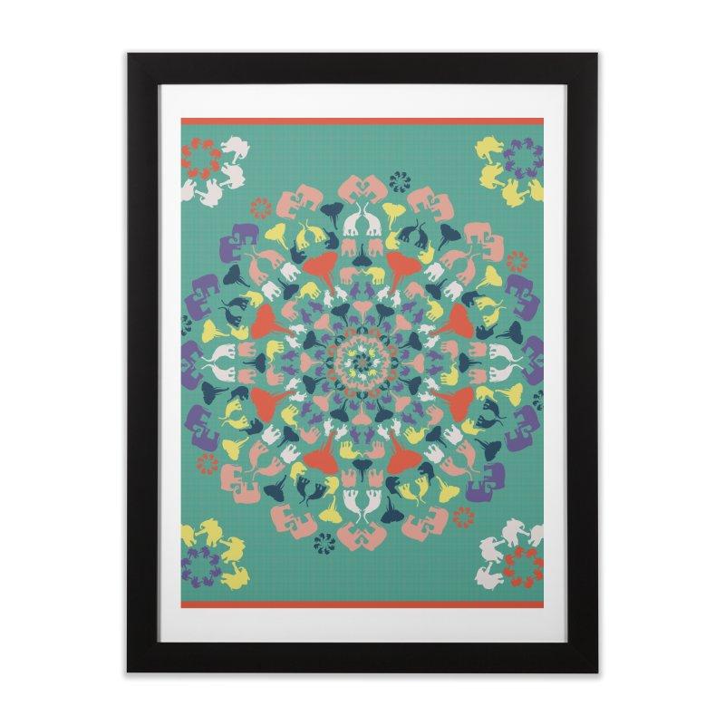 Mandala of Elephants 02. Home Framed Fine Art Print by BrocoliArtprint