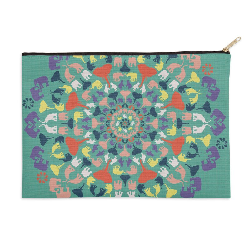 Mandala of Elephants 02. Accessories Zip Pouch by BrocoliArtprint