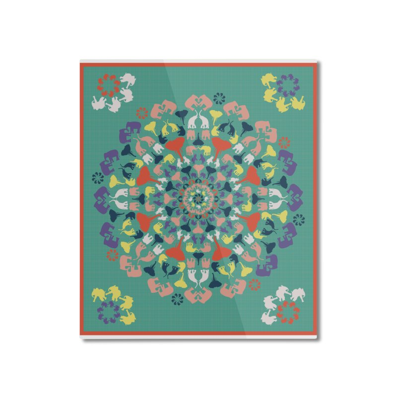 Mandala of Elephants 02. Home Mounted Aluminum Print by BrocoliArtprint