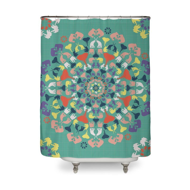 Mandala of Elephants 02. Home Shower Curtain by BrocoliArtprint