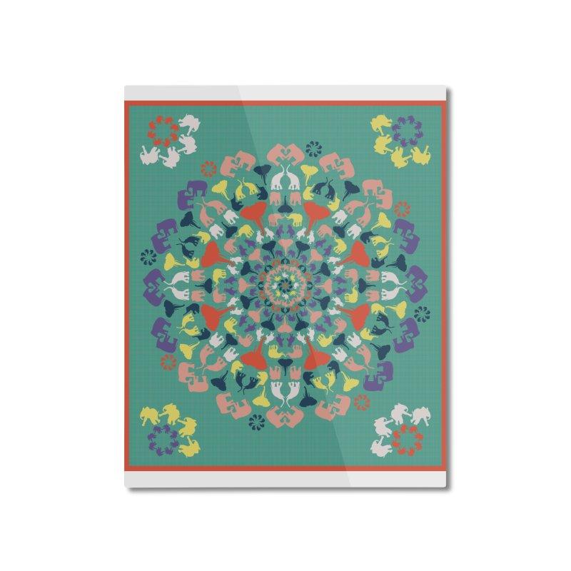 Mandala of Elephants 02. Home Mounted Aluminum Print by BrocoliArtprint