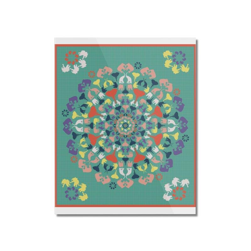 Mandala of Elephants 02. Home Mounted Acrylic Print by BrocoliArtprint