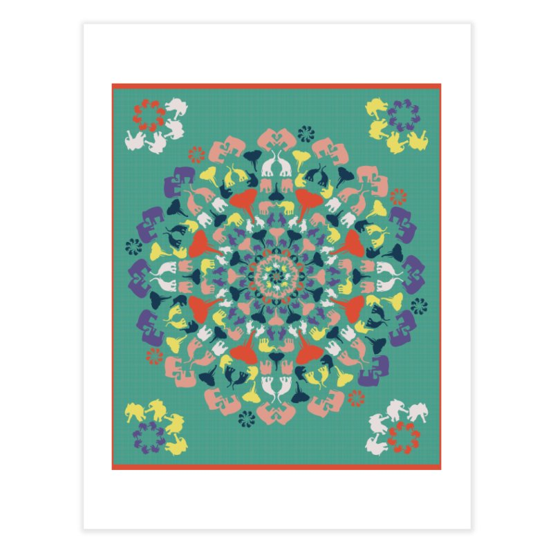 Mandala of Elephants 02. Home Fine Art Print by BrocoliArtprint