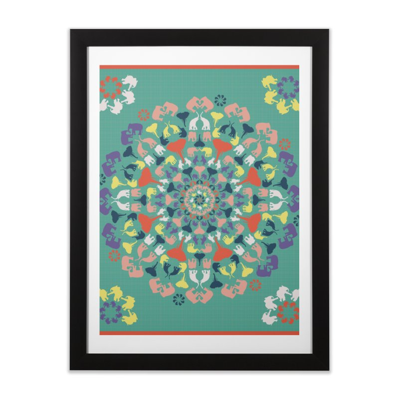 Mandala of Elephants 02. Home Framed Fine Art Print by BrocoliArtprint