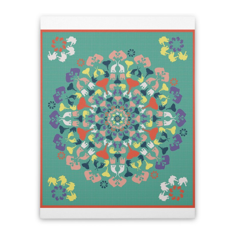 Mandala of Elephants 02. Home Stretched Canvas by BrocoliArtprint
