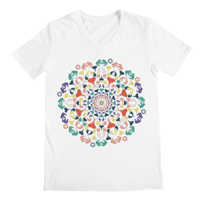 Mandala of Elephants 02. Men's V-Neck by BrocoliArtprint