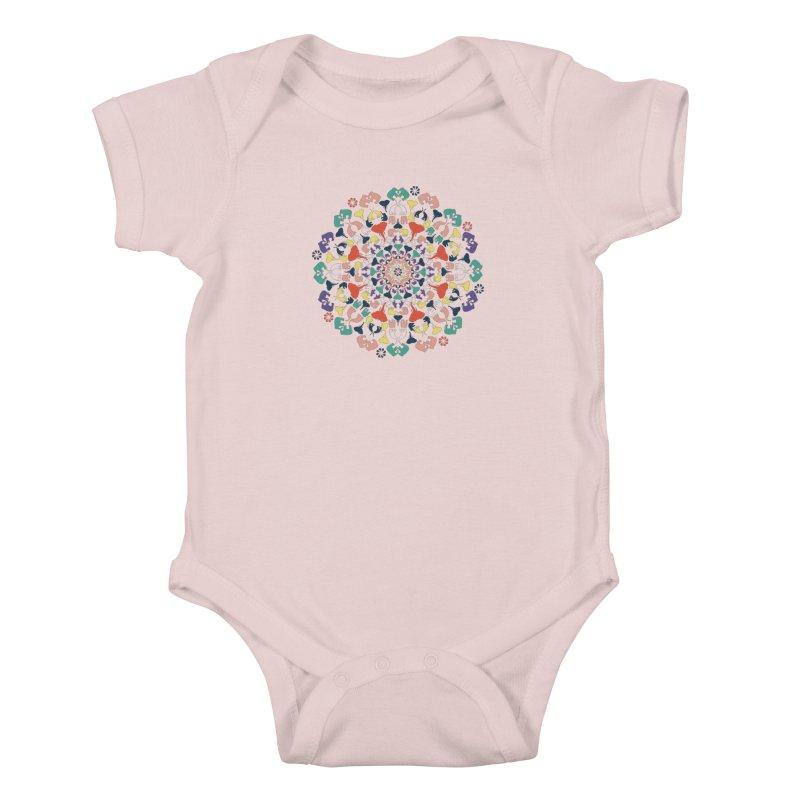 Mandala of Elephants 02. Kids Baby Bodysuit by BrocoliArtprint