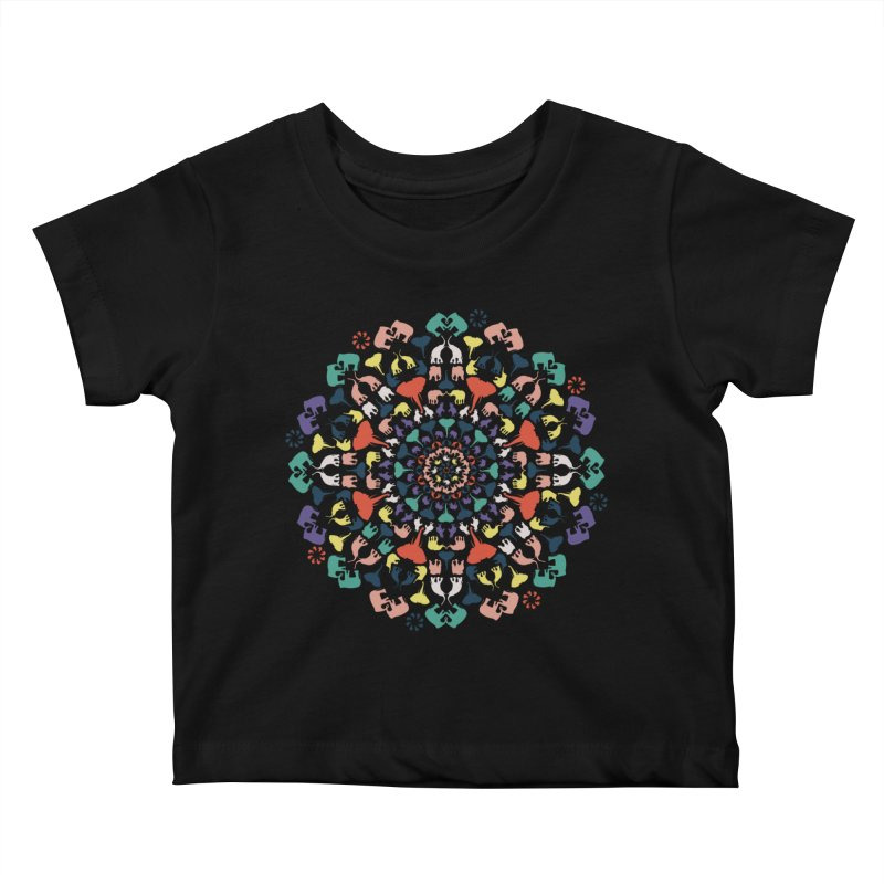 Mandala of Elephants 02. Kids Baby T-Shirt by BrocoliArtprint
