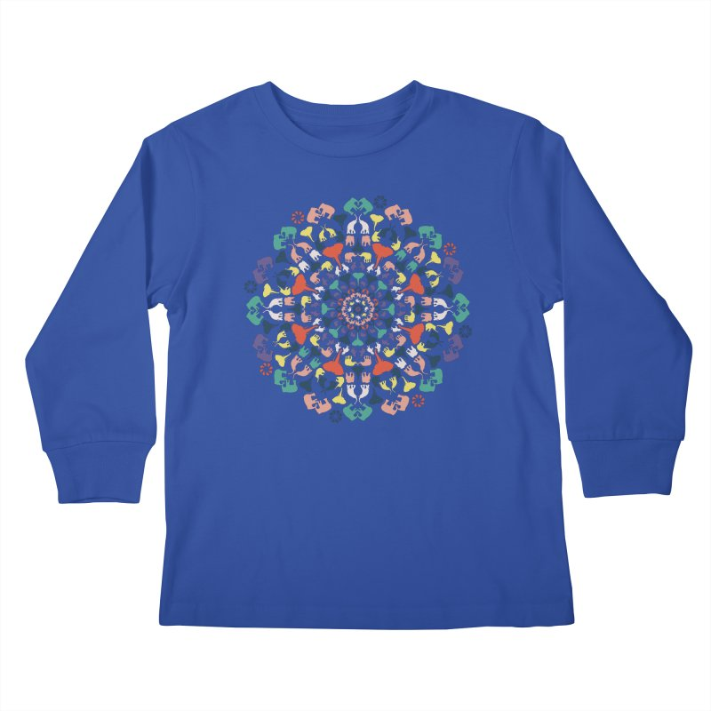 Mandala of Elephants 02. Kids Longsleeve T-Shirt by BrocoliArtprint