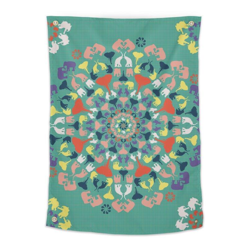 Mandala of Elephants 02. Home Tapestry by BrocoliArtprint