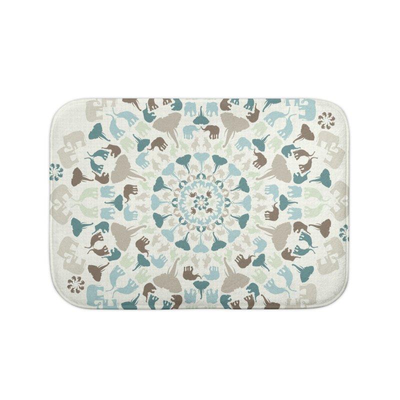 Mandala of Elephants 01. Home Bath Mat by BrocoliArtprint