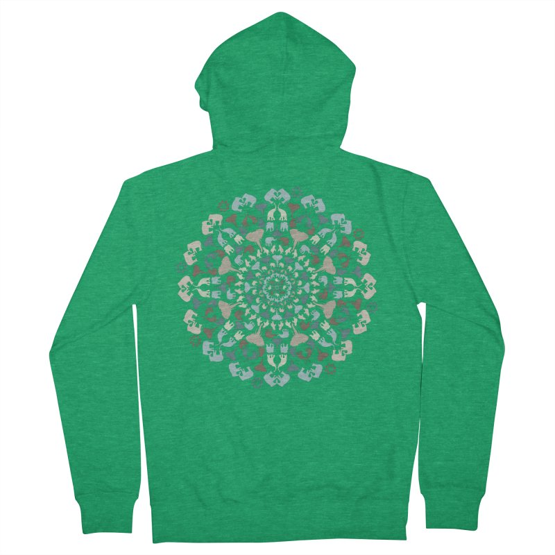 Mandala of Elephants 01. Men's Zip-Up Hoody by BrocoliArtprint