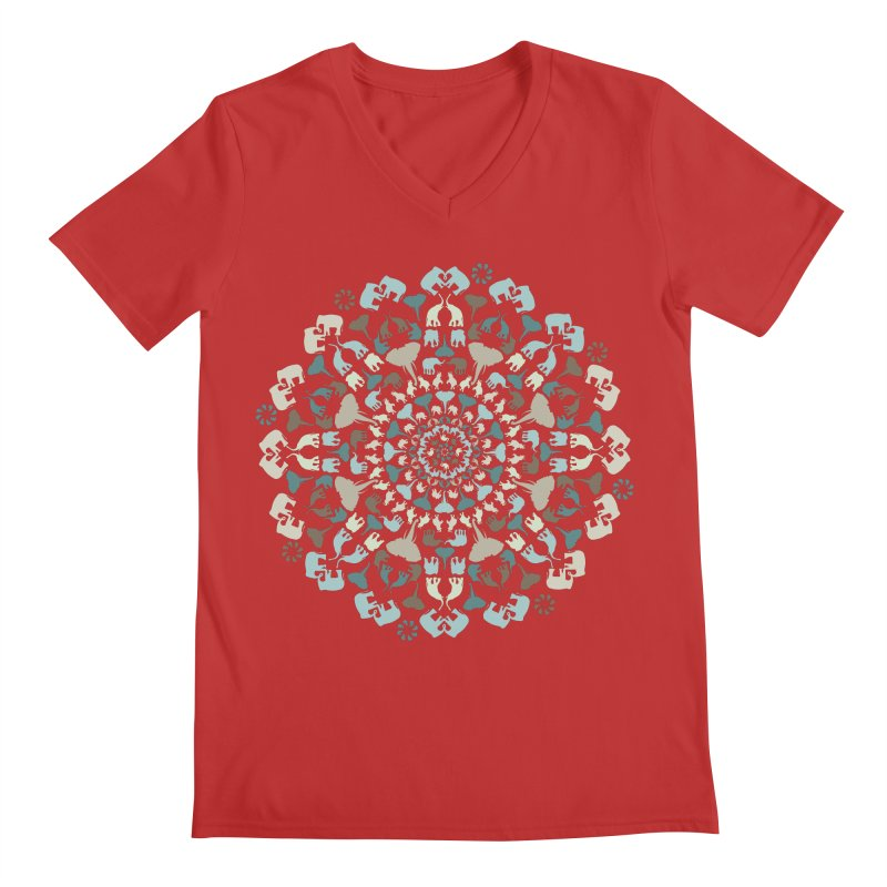 Mandala of Elephants 01. Men's V-Neck by BrocoliArtprint