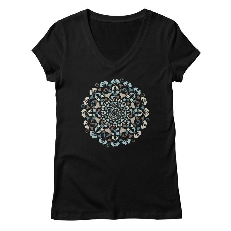 Mandala of Elephants 01. Women's V-Neck by BrocoliArtprint