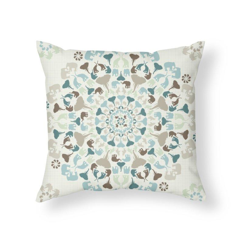 Mandala of Elephants 01. Home Throw Pillow by BrocoliArtprint