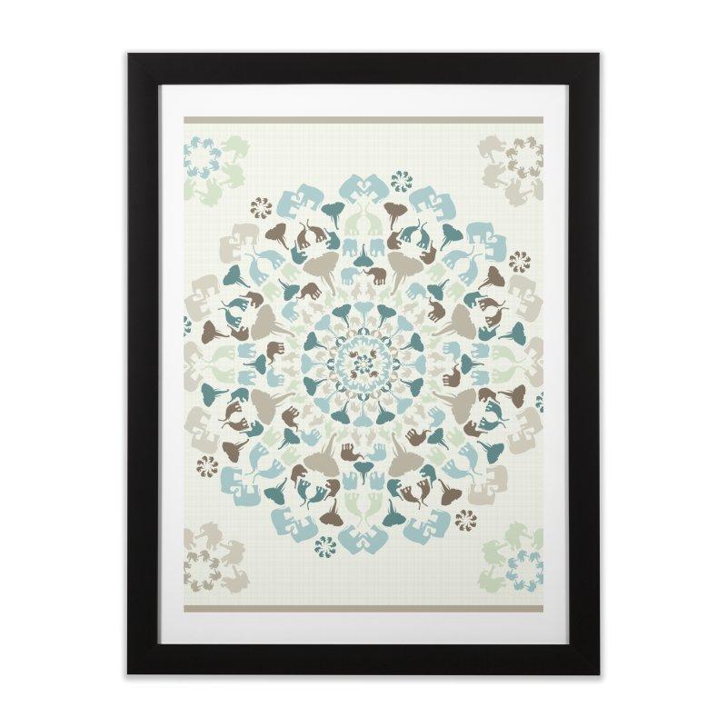 Mandala of Elephants 01. Home Framed Fine Art Print by BrocoliArtprint