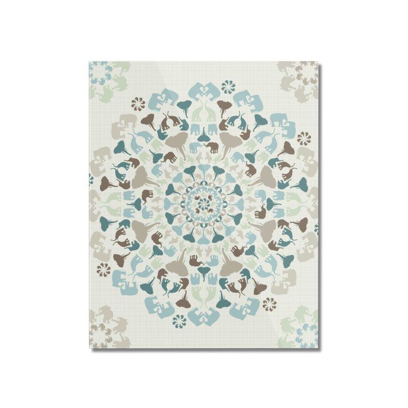 Mandala of Elephants 01. Home Mounted Acrylic Print by BrocoliArtprint