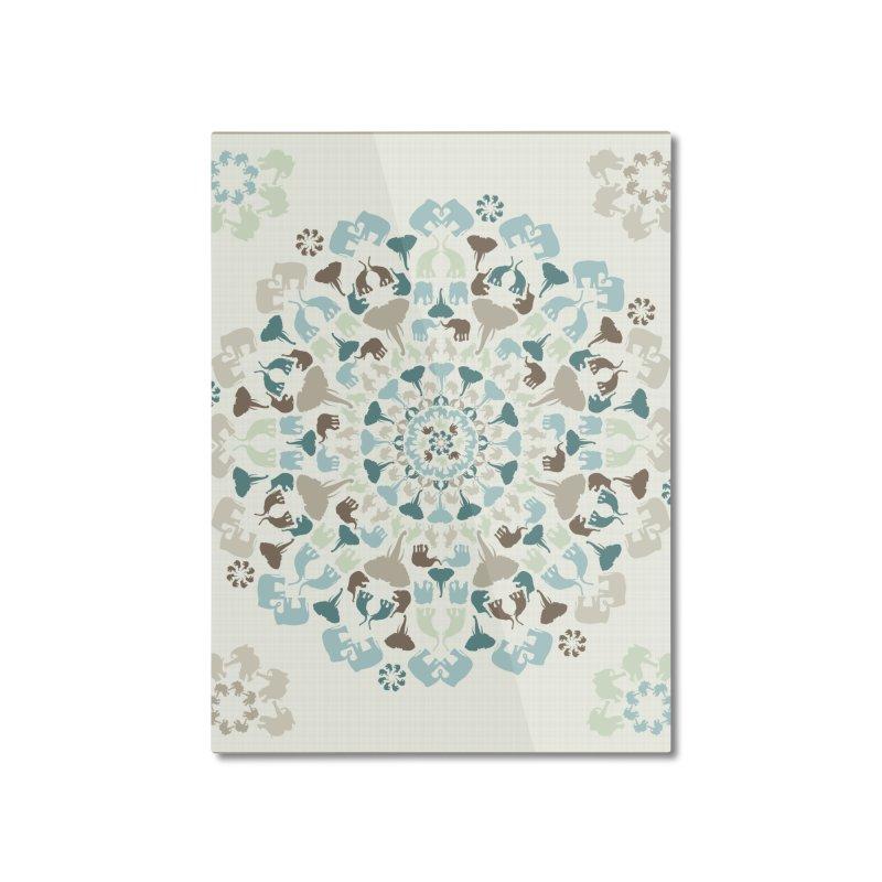 Mandala of Elephants 01. Home Mounted Aluminum Print by BrocoliArtprint