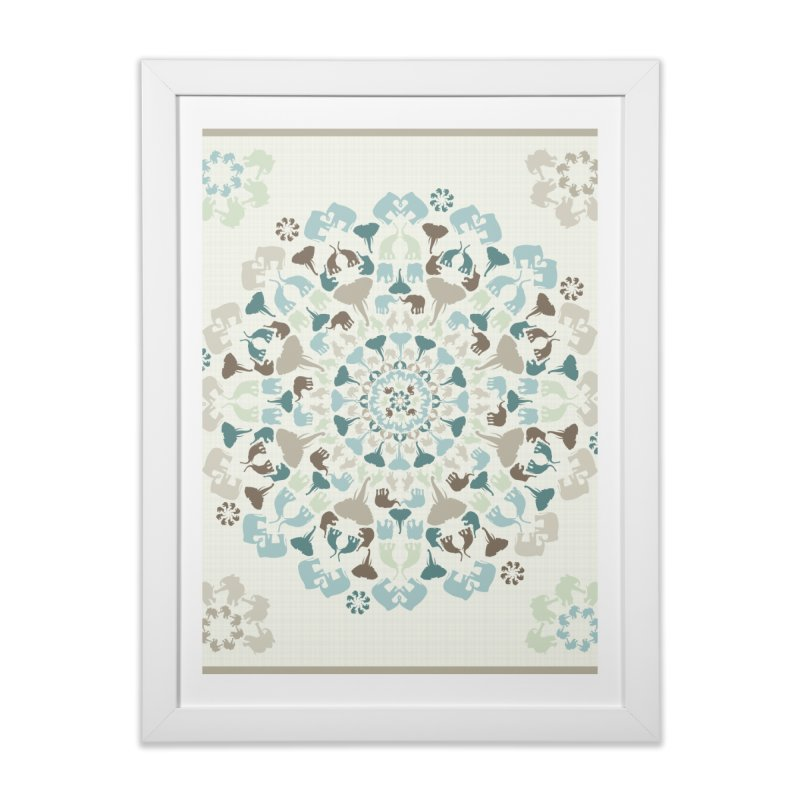 Mandala of Elephants 01. Home Framed Fine Art Print by BrocoliArtprint