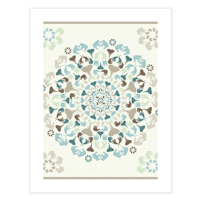 Mandala of Elephants 01. Home Fine Art Print by BrocoliArtprint
