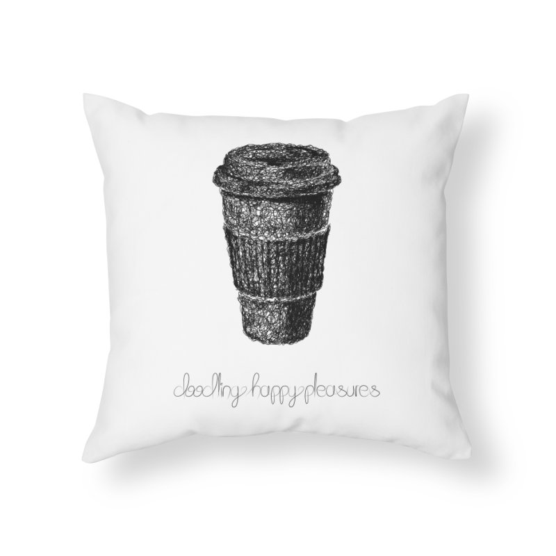 Coffee Doodle Home Throw Pillow by BrocoliArtprint