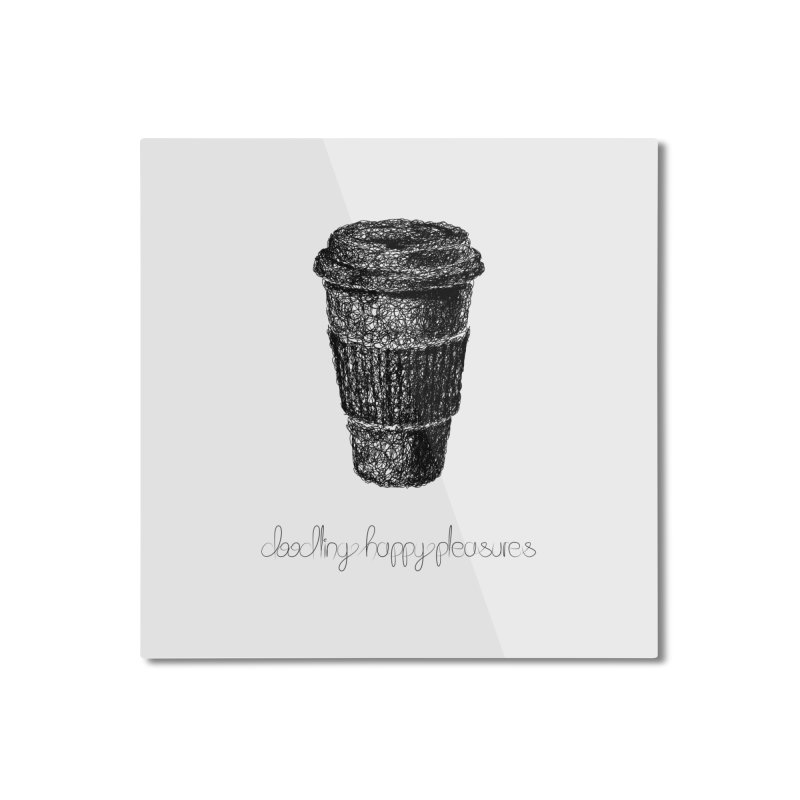 Coffee Doodle Home Mounted Aluminum Print by BrocoliArtprint