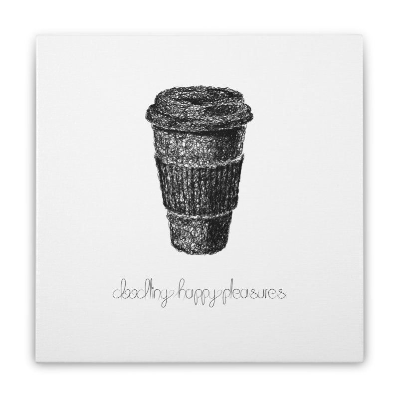 Coffee Doodle Home Stretched Canvas by BrocoliArtprint