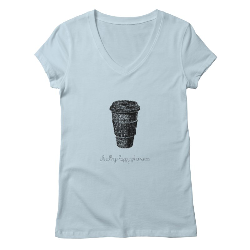 Coffee Doodle Women's V-Neck by BrocoliArtprint