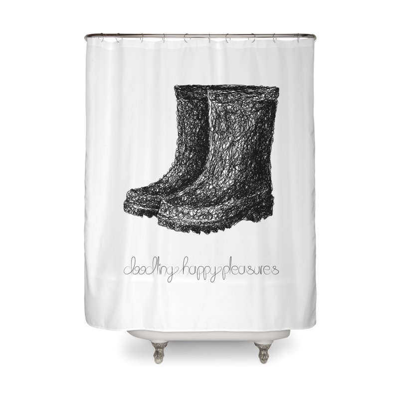 Rainboots Doodle Home Shower Curtain by BrocoliArtprint