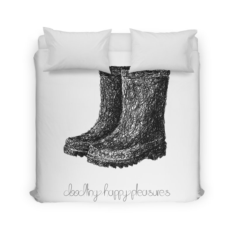 Rainboots Doodle Home Duvet by BrocoliArtprint