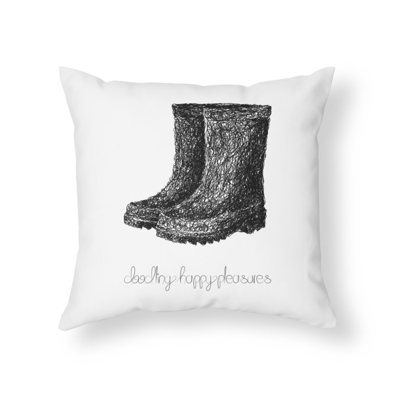 Rainboots Doodle Home Throw Pillow by BrocoliArtprint