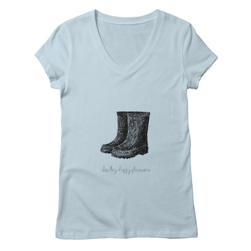 Rainboots Doodle Women's V-Neck by BrocoliArtprint