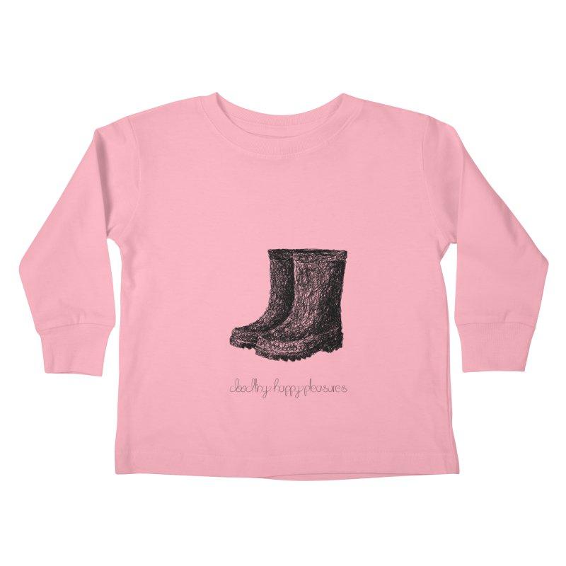Rainboots Doodle Kids Toddler Longsleeve T-Shirt by BrocoliArtprint