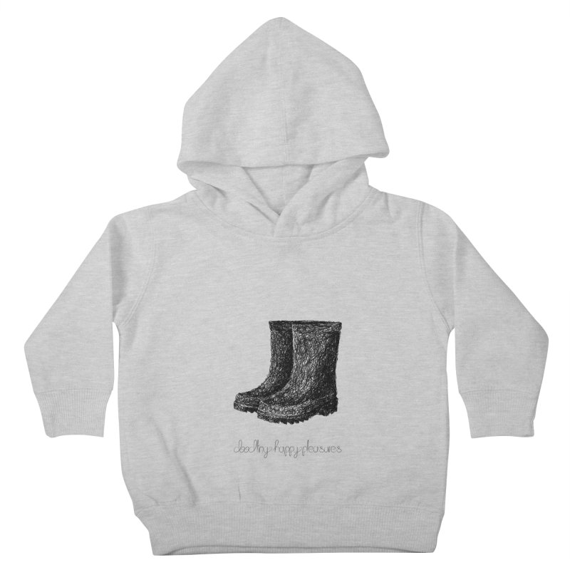 Rainboots Doodle Kids Toddler Pullover Hoody by BrocoliArtprint
