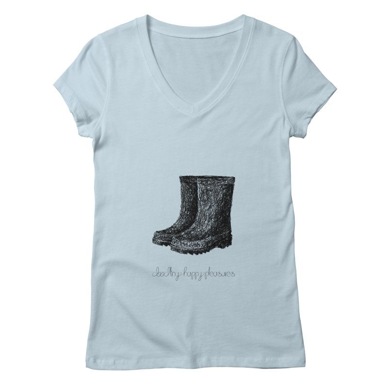 Rainboots Doodle Women's V-Neck by BrocoliArtprint