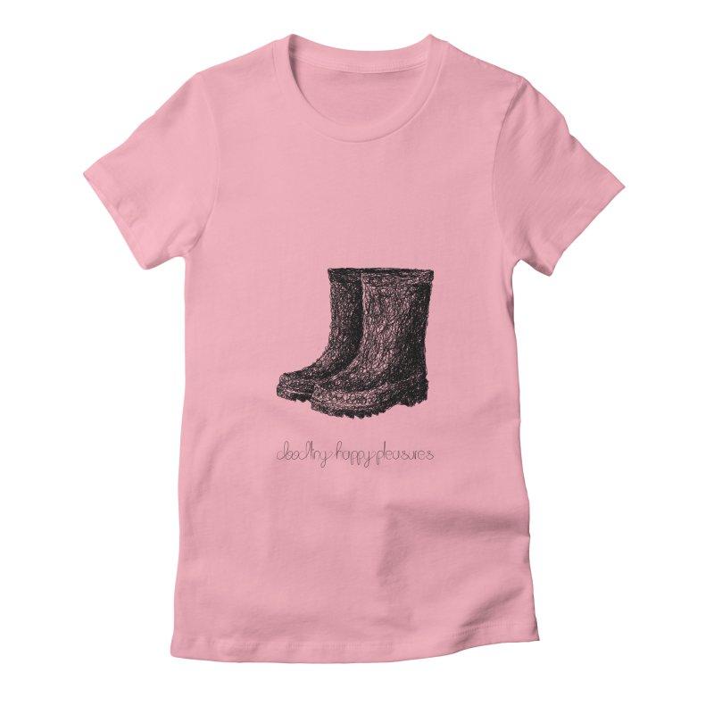 Rainboots Doodle Women's T-Shirt by BrocoliArtprint
