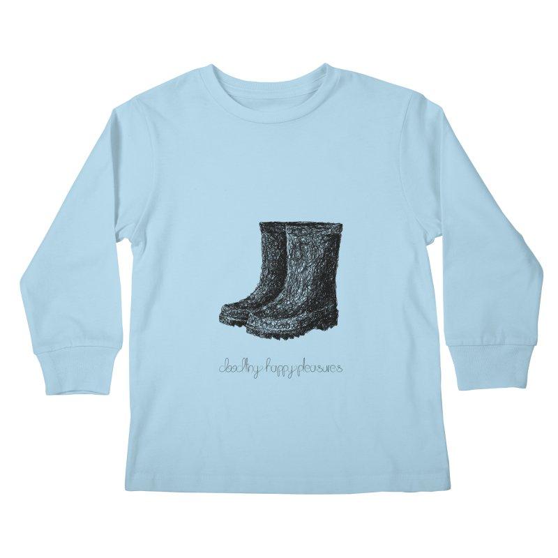 Rainboots Doodle Kids Longsleeve T-Shirt by BrocoliArtprint