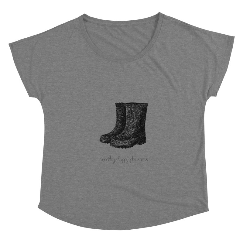 Rainboots Doodle Women's Scoop Neck by BrocoliArtprint