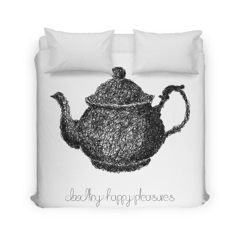 Teapot Doodle Home Duvet by BrocoliArtprint