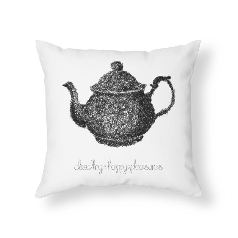 Teapot Doodle Home Throw Pillow by BrocoliArtprint