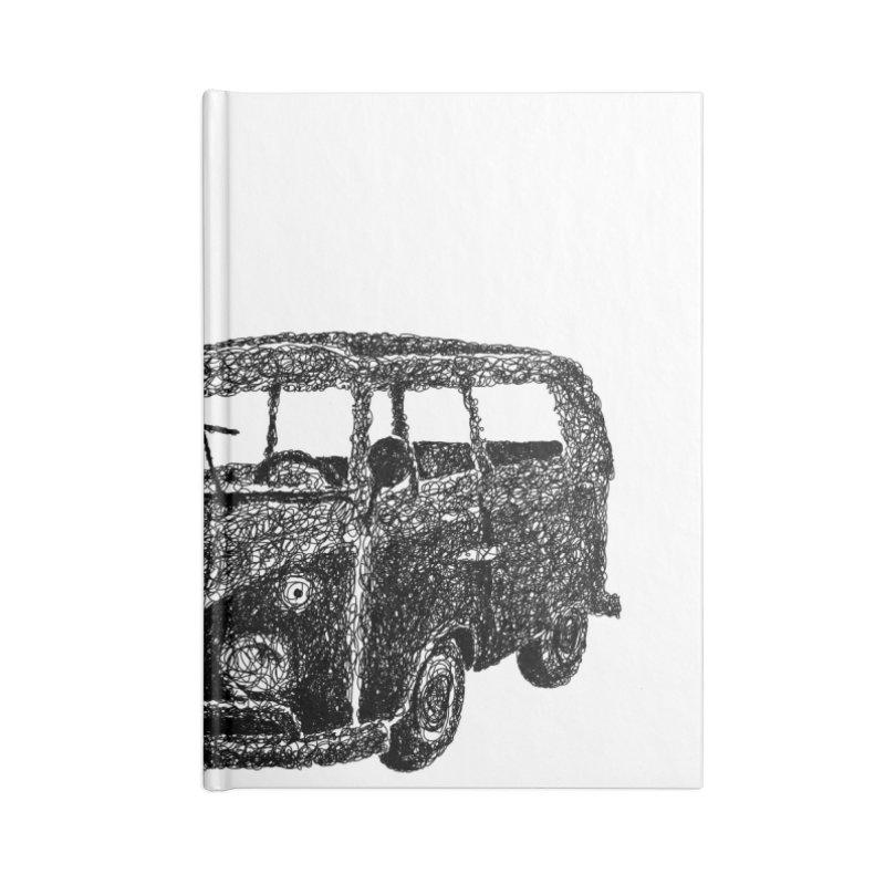 Hippie Retro Van Doodle Accessories Notebook by BrocoliArtprint