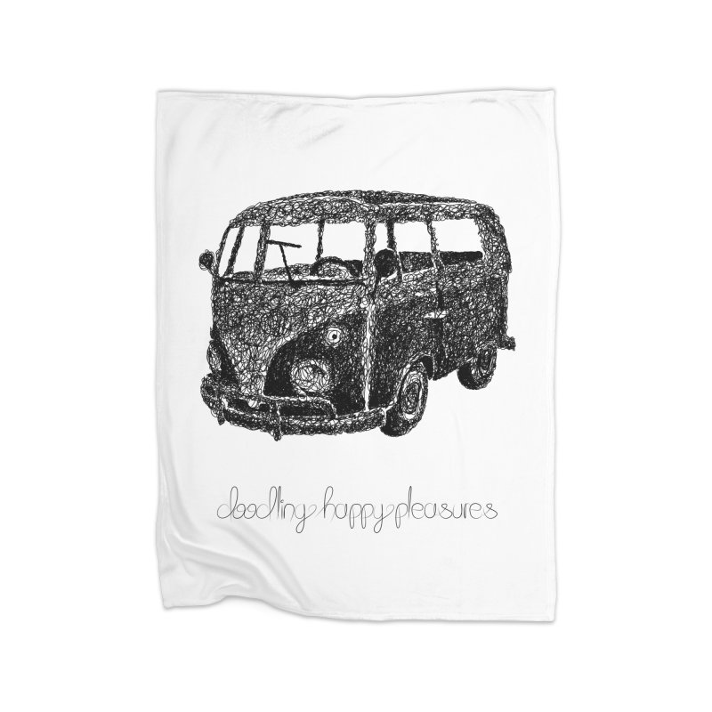 Hippie Retro Van Doodle Home Blanket by BrocoliArtprint