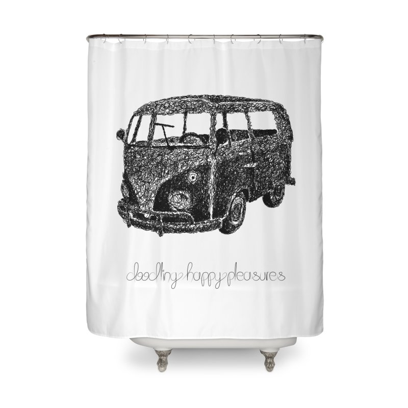 Hippie Retro Van Doodle Home Shower Curtain by BrocoliArtprint