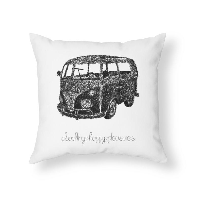 Hippie Retro Van Doodle Home Throw Pillow by BrocoliArtprint