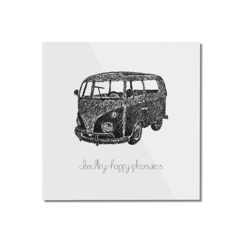 Hippie Retro Van Doodle Home Mounted Acrylic Print by BrocoliArtprint